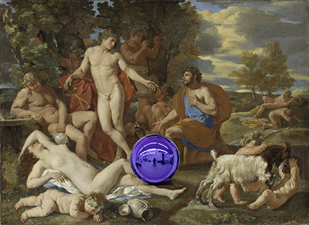 Gazing Ball (Poussin Midas and Bacchus)