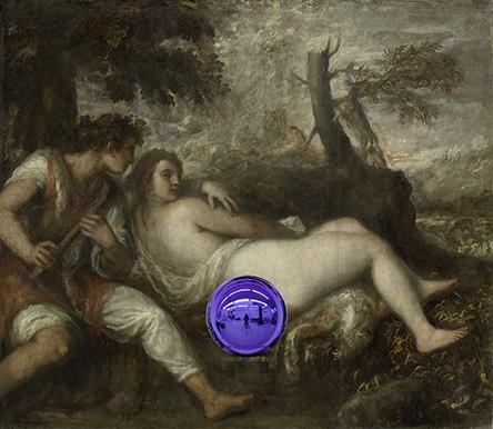 Gazing Ball (Titian Nymph and Shepherd)