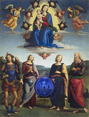 Gazing Ball (Perugino Madonna and Child with Four Saints)