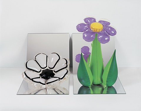 Inflatable Flowers (Short White, Tall Purple)