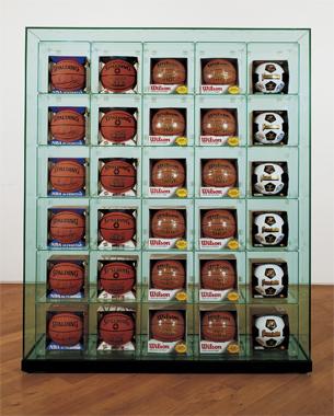 Encased - Five Rows (6 Spalding Scottie Pippen Basketballs, 6 Spalding Shaq Attaq Basketballs, 6 Wilson Supershot Basketballs, 6 Wilson Supershot Basketballs, 6 Franklin 6034 Soccerballs)