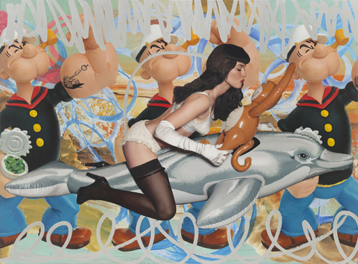 Girl with Dolphin and Monkey Triple Popeye (Seascape)