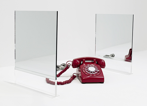 Two Double-Sided Floor Mirrors with Red Phone