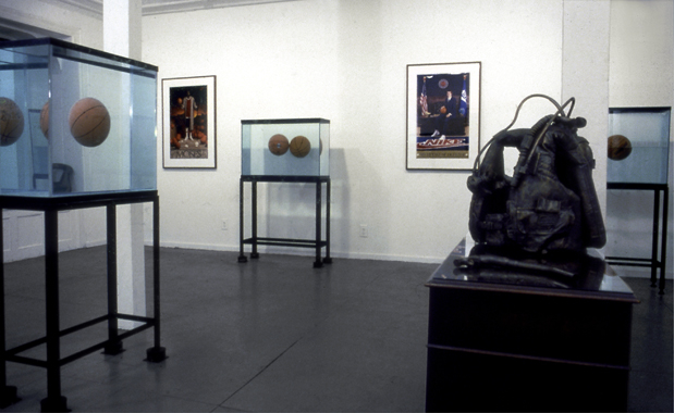 Jeff Koons. Equilibrium, International With Monument Gallery, New York, 1985.